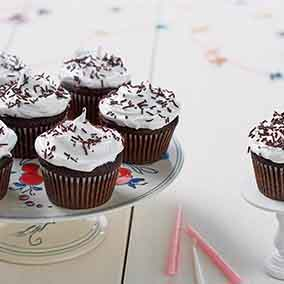 Favorite Fudge Birthday Cupcakes with 7-Minute Icing