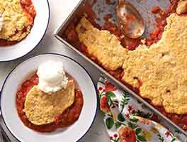 Strawberry-Rhubarb Cobbler