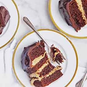 Peanut Butter-Fudge Buckeye Cake