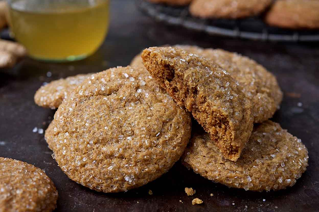Soft Ginger-Molasses Cookies and Ginger Syrup Recipe | King Arthur ...