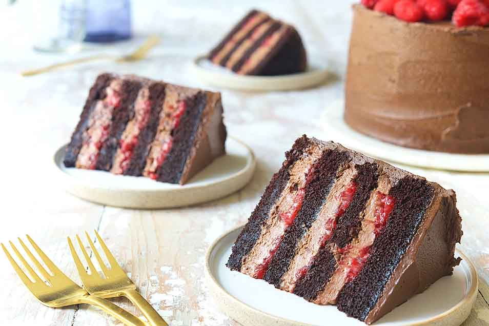 February: Chocolate Mousse Cake with Raspberries