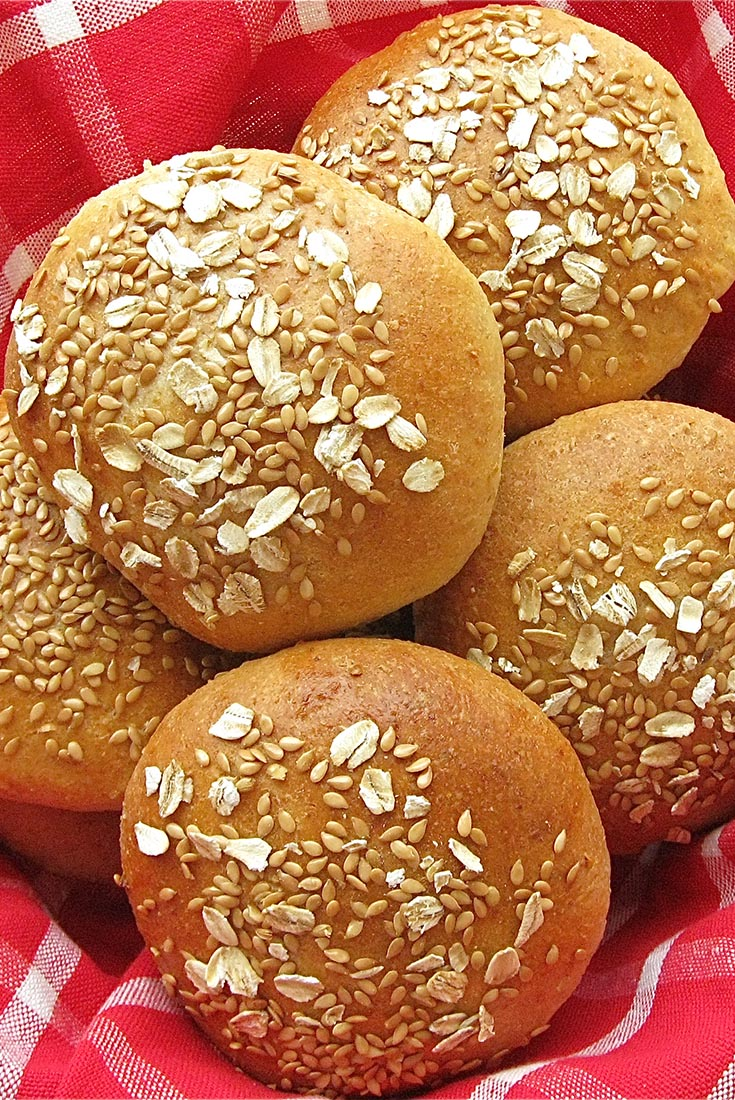 Wheat-Oat-Flax Buns Recipe