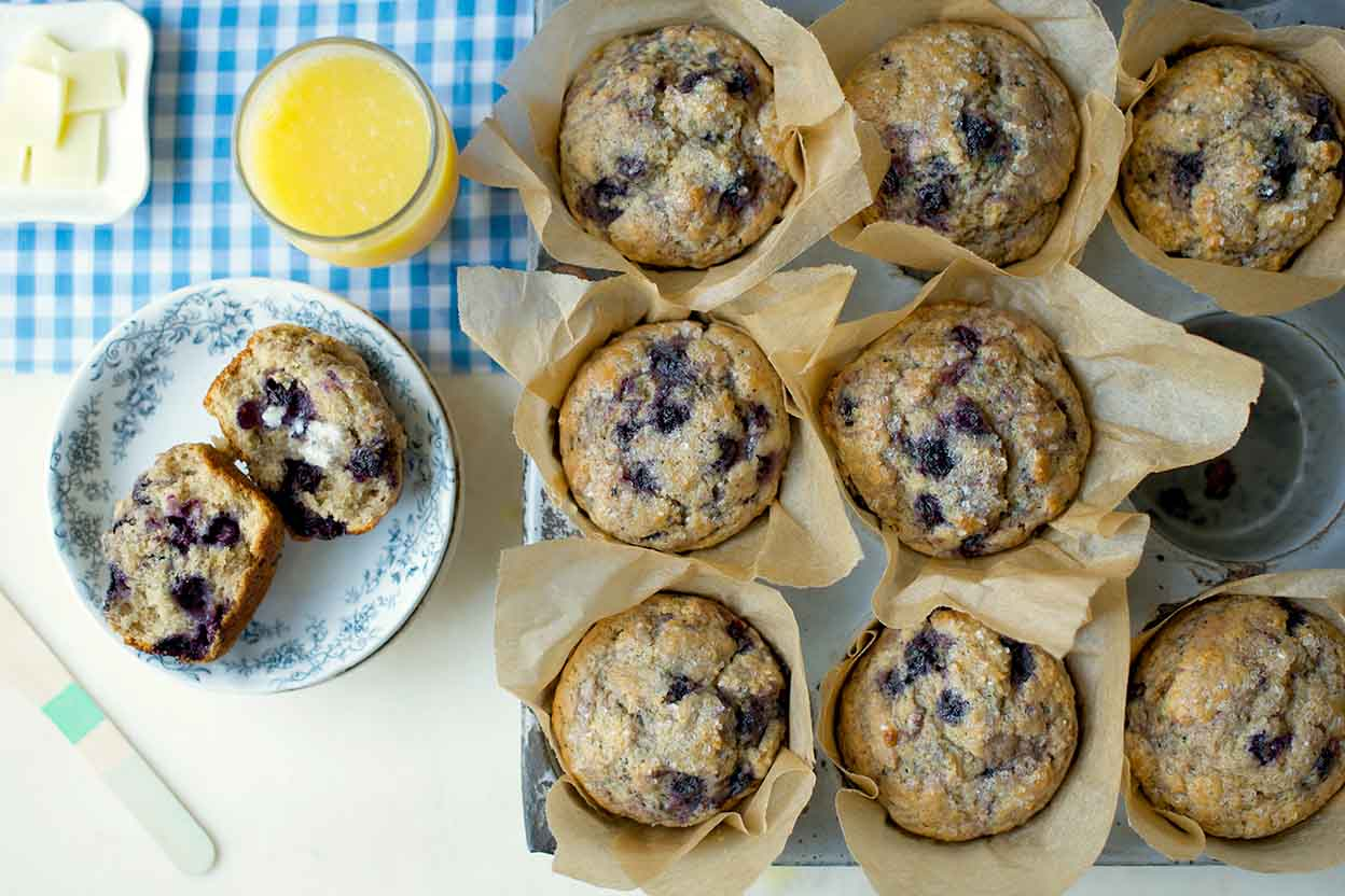 100 Whole Wheat Blueberry Muffins