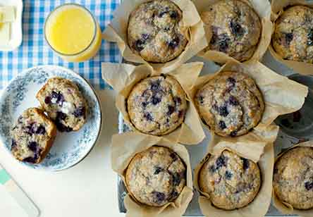 100% Whole Wheat Blueberry Muffins