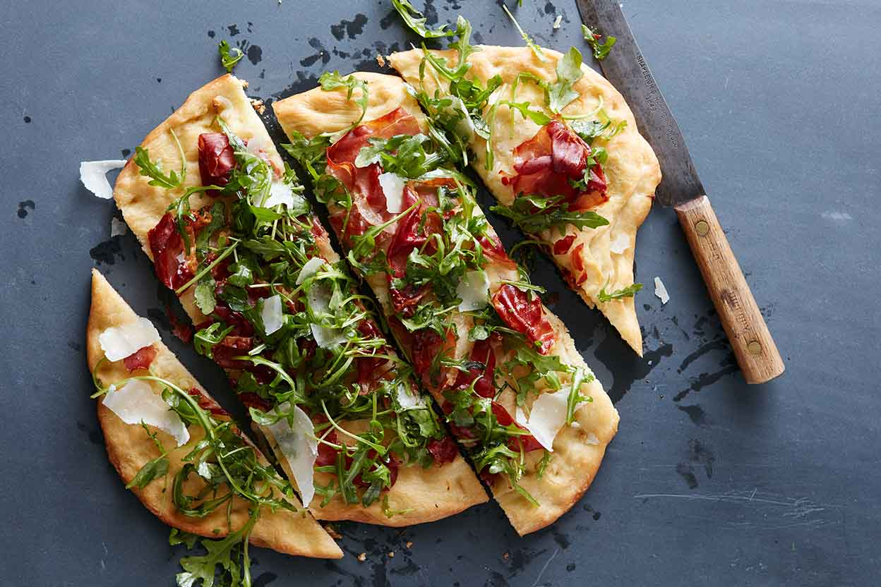 Prosciutto, Arugula, and Parmesan Pizza Recipe King Arthur Flour