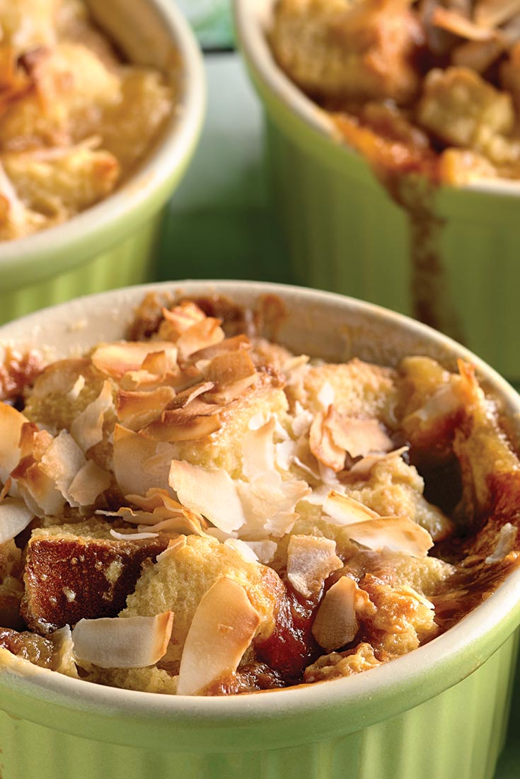 Caramel Bread Pudding with Coconut and Banana Recipe