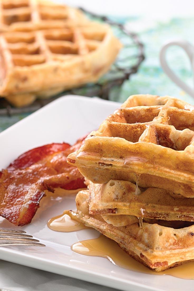 Maple-Bacon Yeast Waffles Recipe