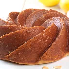 Gluten-Free Almond Cake with Honey-Lemon Glaze made with baking mix