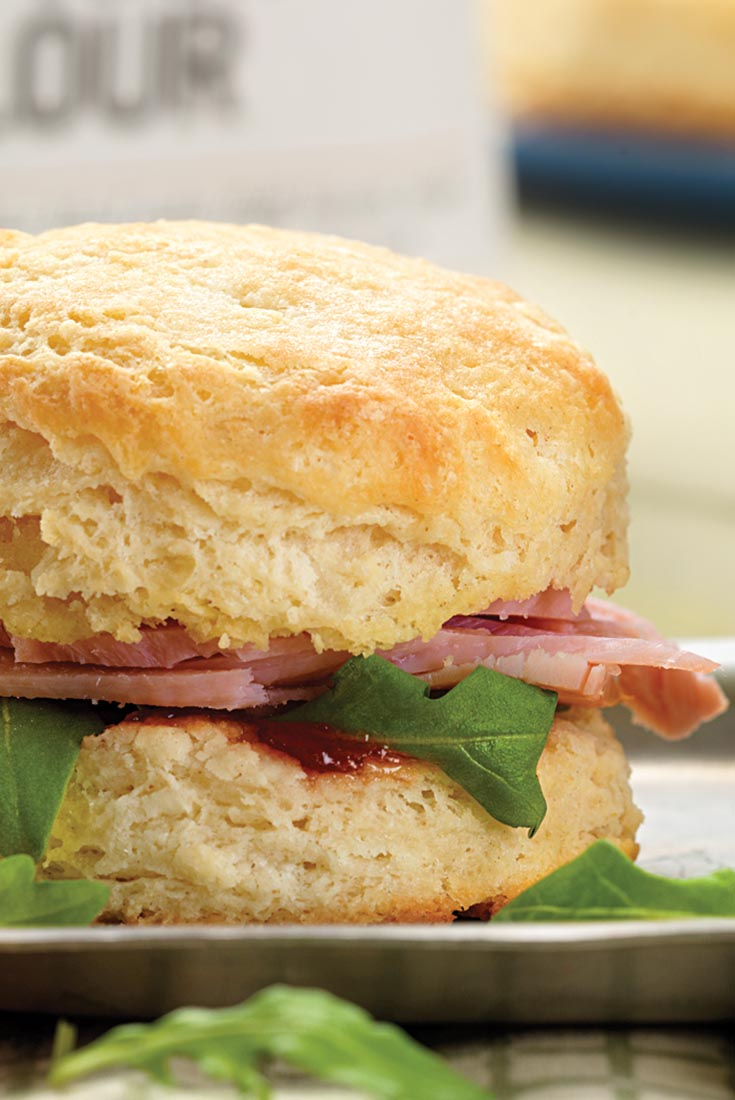 Cheddar-Ham Buttermilk Biscuit Sandwiches Recipe