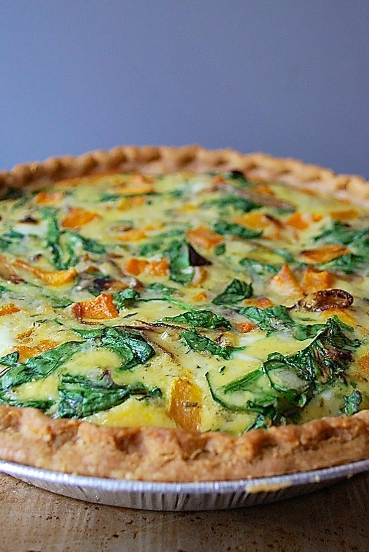 Roasted Butternut Squash  Spinach Quiche Recipe King Arthur Flour