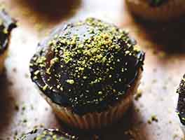 Pistachio-Cardamom Cupcakes with Dark Chocolate Ganache