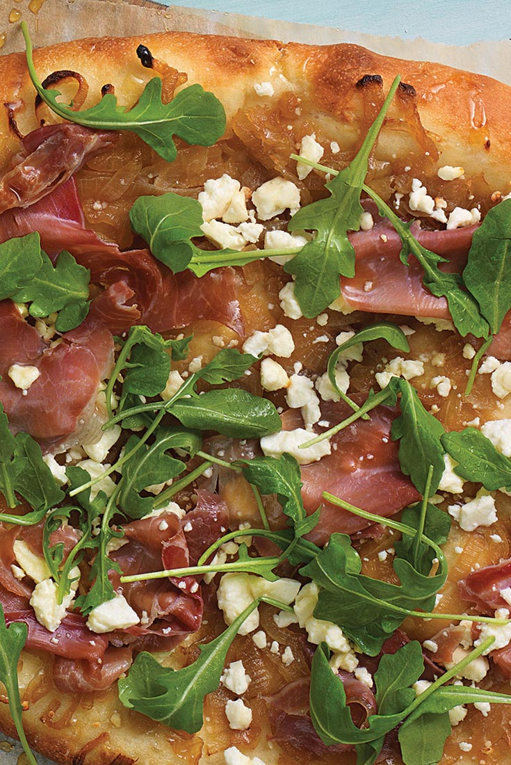 Spicy Honey Caramelized Onion Pizza with Prosciutto, Feta ...
