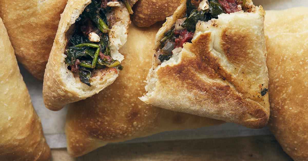 Spinach-Filled Lebanese Flatbreads Recipe