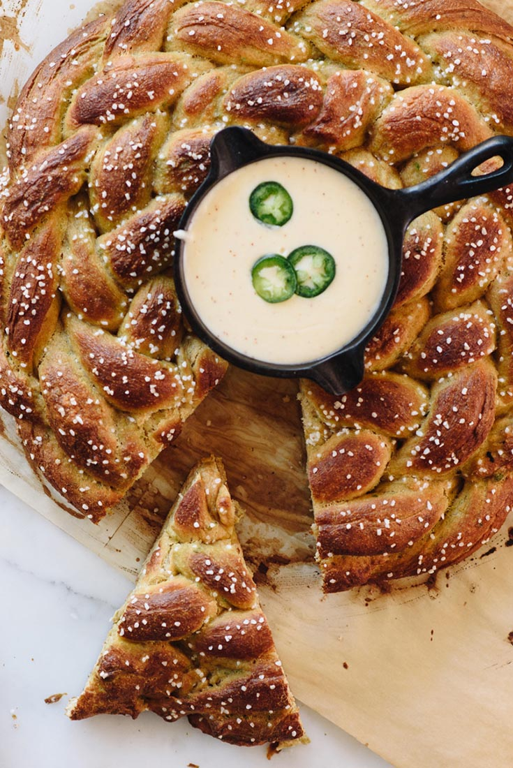 Sprouted Wheat Jalapeño Pretzel Braid with Skillet Queso Recipe