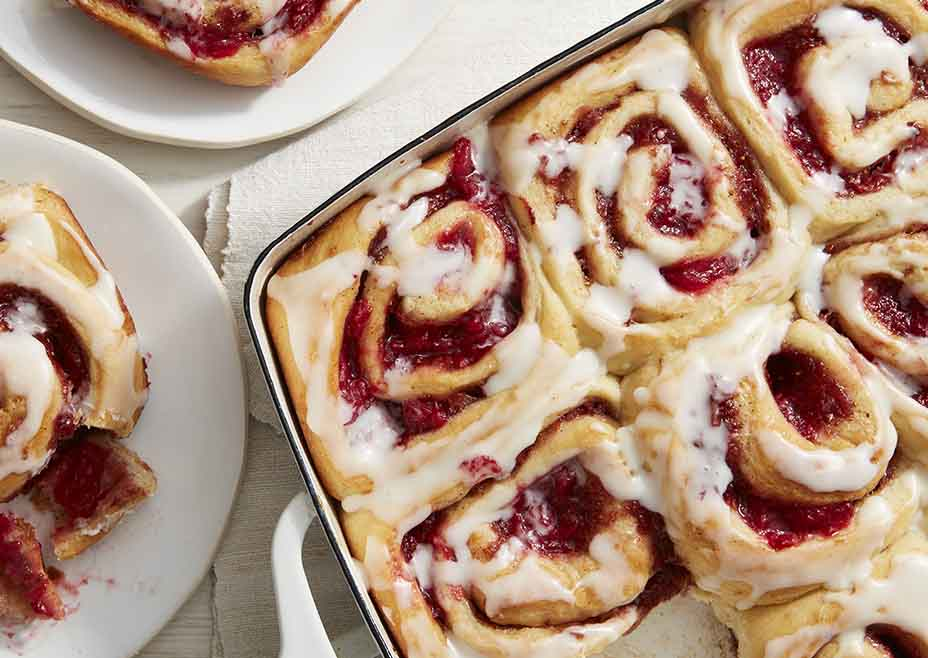 Roasted Strawberry Cream Cheese Rolls