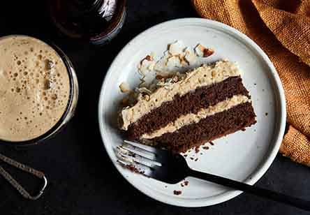 Chocolate Pecan Coconut Porter Cake