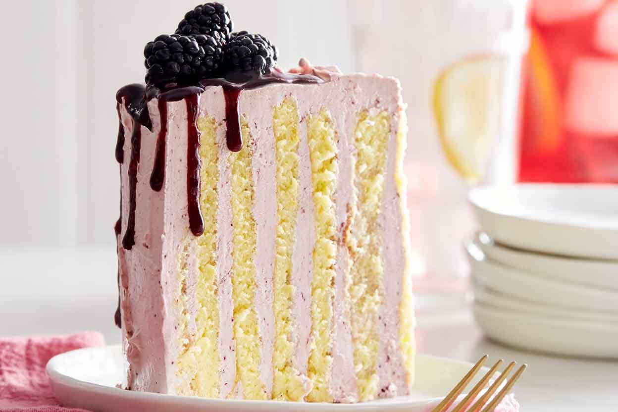 Lemon and Black Currant Stripe Cake Recipe | King Arthur Flour